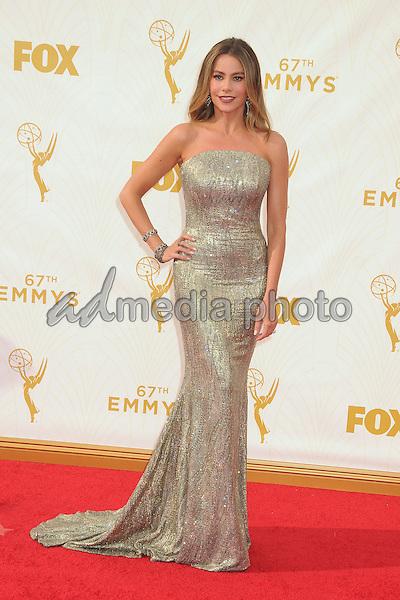 20 September 2015 - Los Angeles, California - Sofia Vergara. 67th Annual Primetime Emmy Awards - Arrivals held at Microsoft Theater. Photo Credit: Byron Purvis/AdMedia