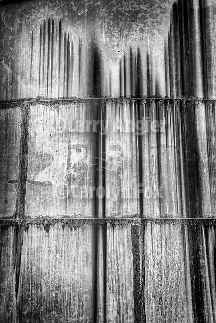 Detail and rust, abandoned grain storage tanks, R C Ranch, Panorama Hills, Carrizo Plain National Monument, San Luis Obispo County, Calif.
