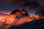 Sunrise on the granite spires of the southern Andes