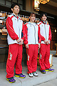 (L to R) Kazuhito Tanaka (JPN), Rie Tanaka (JPN), Yusuke Tanaka (JPN), July 2, 2011 - Artistic Gymnastics : Japanese Artistic Gymnastics team member visited the Togo shrine, pray for the London Olympics in Tokyo, Japan.  (Photo by Yusuke Nakanishi/AFLO SPORT)
