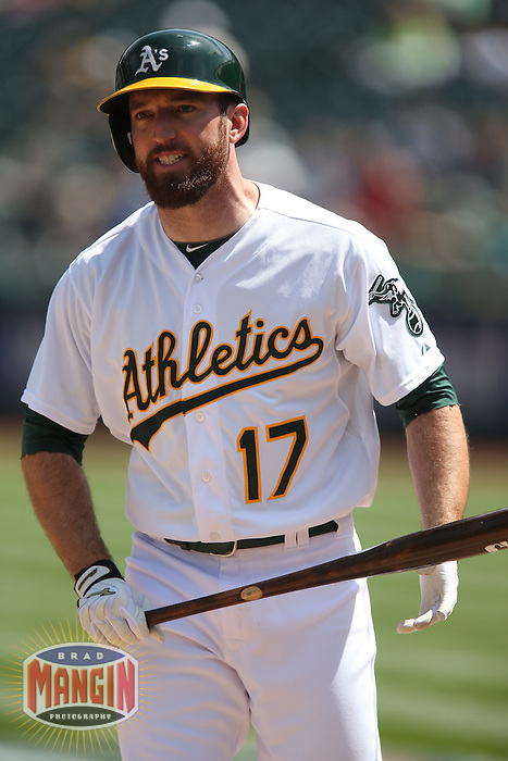 OAKLAND, CA - APRIL 9:  Ike Davis #17 of the Oakland Athletics reacts after striking out against the Texas Rangers during the game at O.co Coliseum on Thursday, April 9, 2015 in Oakland, California. Photo by Brad Mangin