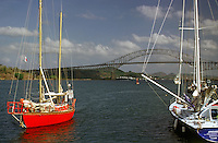 Panama Canal, Central America, Bridge of the Americas, Yachts, moored, waiting passage, Red Sailboat, fresh paint