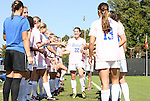 23 October 2011: Duke senior Chelsea Canepa (22) is honored by her teammates as part of Duke's Senior Day. The Duke University Blue Devils defeated the University of Maryland Terrapins 3-1 at Koskinen Stadium in Durham, North Carolina in an NCAA Division I Women's Soccer game.