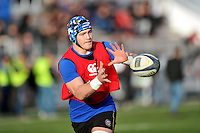 David Denton of Bath Rugby receives the ball during the pre-match warm-up. European Rugby Champions Cup match, between RC Toulon and Bath Rugby on January 10, 2016 at the Stade Mayol in Toulon, France. Photo by: Patrick Khachfe / Onside Images