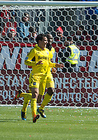 31 March 2011: Columbus Crew midfielder Bernardo Anor #7 celebrates his goal during a game between the Columbus Crew and the Toronto FC at BMO Field in Toronto, Ontario Canada..The Columbus Crew won 1-0.