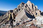 Renny Jackson descends the north ridge of the Middle Teton en route to the Lower Saddle after a traverse of Nez Perce and the Middle Teton last September.