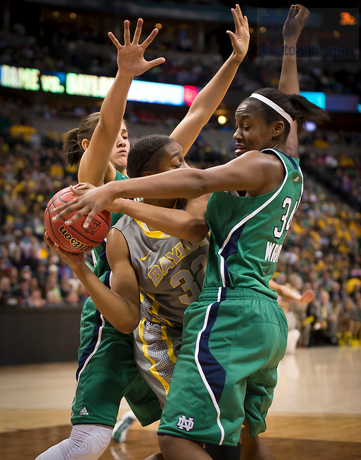 Apr. 3, 2012; Natalie Achonwa and Markisha Wright defend in the first half of the 2012 Women's Basketball National Championship game...Photo by Matt Cashore/University of Notre Dame
