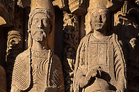 Originally thought to be Abraham and his wife Sara, but now thought to be a king and a young princess, benefactors of the cathedral, from the left splay of the left bay of the Royal Portal, 1142-50, Western facade, Chartres cathedral, Eure-et-Loir, France. Chartres cathedral was built 1194-1250 and is a fine example of Gothic architecture. It was declared a UNESCO World Heritage Site in 1979. Picture by Manuel Cohen.