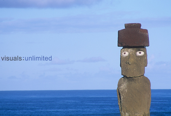 Ahu Ko Te Riki statue, West Coast, Easter Island, Chile.