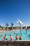 Swimmers at the Esplanade Lagoon.  Cairns, Queensland, Australia