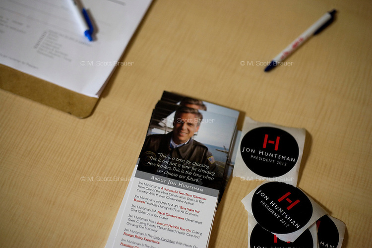 Campaign materials for the Huntsman campaign lay on a table outside Republican presidential candidate Jon Huntsman's town hall event at BAE Systems, a defense contractor, in Nashua, New Hampshire, USA. Huntsman has focused his national campaign on New Hampshire. During this speech and question and answer session, Huntsman stressed the importance of manufacturing in maintaining the US's dominance in the global economy and for fostering national security. Huntsman is the former ambassador to China under Obama and former governor of Utah.
