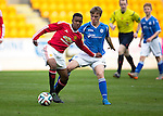 St Johnstone Academy v Manchester Utd Academy&hellip;.06.05.16  McDiarmid Park, Perth<br />Reece Ellington holds off Cameron Ballantyne<br />Picture by Graeme Hart.<br />Copyright Perthshire Picture Agency<br />Tel: 01738 623350  Mobile: 07990 594431