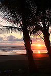 Central America, Costa Rica, Playa Esterillos Este. Sunset scene at Playa Esterillos Este from Alma del Pacifico Resort.