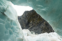 Ice cave, formations on Fox Glacier, Westland Tai Poutini National Park, UNESCO World Heritage Area, West Coast, New Zealand, NZ