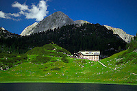Berchtesgaden National Park, Bavavia, Germany, July 2004. The Kaerlinger Haus Hut is situated on the shores of the funtensee lake. We are trekking  from hut to hut in the Bavarian mountains of Berchtesgaden. Photo by Frits Meyst/Adventure4ever.com