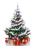 Decorated Christmas tree with gifts under it. Isolated on white background.