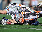 23 August 2008: Denver Outlaws' Defenseman Tom Ethington looses possession against the Los Angeles Riptide during the Semi-Finals of the Major League Lacrosse Championship Weekend at Harvard Stadium in Boston, MA. The Outlaws edged out the Riptide 13-12, advancing to the upcoming Championship Game.. .Mandatory Photo Credit: Ed Wolfstein Photo