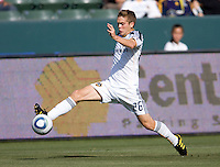 LA Galaxy midfielder Michael Stephens (26) reaches for a loose ball. The LA Galaxy defeated the Houston Dynamo 4-1 at Home Depot Center stadium in Carson, California on Saturday evening June 5, 2010..