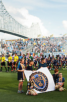 The Philadelphia Union and FC Dallas enter the field. The Philadelphia Union and FC Dallas played to a 2-2 tie during a Major League Soccer (MLS) match at PPL Park in Chester, PA, on June 29, 2013.