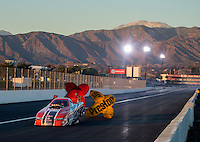 Nov 11, 2016; Pomona, CA, USA; NHRA funny car driver Brandon Welch during qualifying for the Auto Club Finals at Auto Club Raceway at Pomona. Mandatory Credit: Mark J. Rebilas-USA TODAY Sports