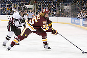 Wayne Simpson (Union - 21), Justin Faulk (Duluth - 25) - The University of Minnesota-Duluth Bulldogs defeated the Union College Dutchmen 2-0 in their NCAA East Regional Semi-Final on Friday, March 25, 2011, at Webster Bank Arena at Harbor Yard in Bridgeport, Connecticut.