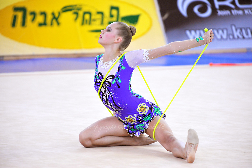 Hanna Rabtsava of Belarus performs with rope at 2010 Holon Grand Prix at Holon, Israel on September 3, 2010.  (Photo by Tom Theobald).