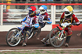 Heat 12: D Davidsson (red), Robson (blue) and Wethers - Lakeside Hammers vs Wolverhampton Wolves - Sky Sports Elite League Speedway at Arena Essex Raceway, Purfleet - 24/05/10 - MANDATORY CREDIT: Gavin Ellis/TGSPHOTO - Self billing applies where appropriate - Tel: 0845 094 6026