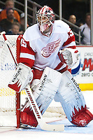 03/02/11 Anaheim, CA: Detroit Red Wings goalie Jimmy Howard #35 during an NHL game between the Detroit Red Wings and the Anaheim Ducks at the Honda Center. The Ducks defeated the Red Wings 2-1 in OT.