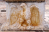 4th cent. AD eagle decorated column base of the late Roman period Jewish synagogue of Sardis.  Sardis archaeological site, Hermus valley, Turkey. Discovered in 1962 as part of an on going  Harvard Art Museum excavation project.