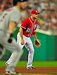 6 June 2009: Washington Nationals' third baseman Ryan Zimmerman in action against the New York Mets at Nationals Park in Washington, DC. The Nationals defeated the Mets 7-1, with Nats' starting pitcher John Lannan going the distance for his first career complete-game win. Mandatory Credit: Ed Wolfstein Photo