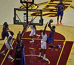 New York Knicks Power Forward Amare  Stouidmarie takes a lay up against Power Forward Aninto Jamison on January 31,2013