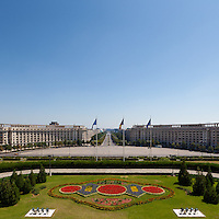 View from balcony. The Palace of the Parliament (Also known as Ceausescu&rsquo;s Palace or House of The People) in Bucharest, Romania. Built 1983-1989. Architect: Anca Petrescu