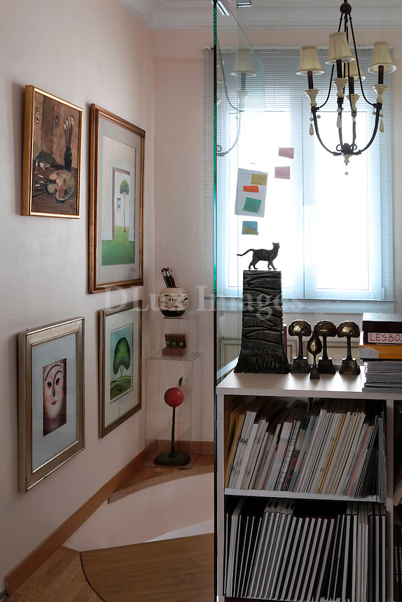 bookcase and modern paintings