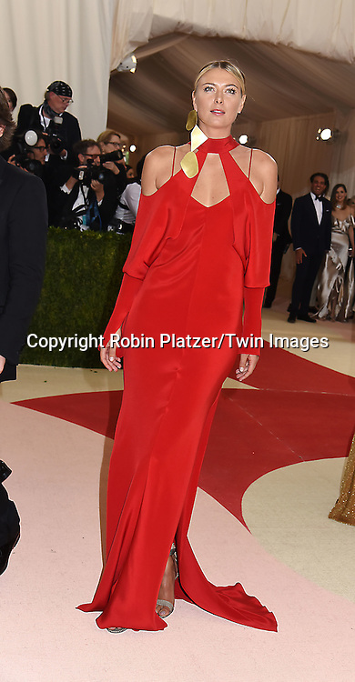 Maria Sharapova attends the Metropolitan Museum of Art Costume Institute Benefit Gala on May 2, 2016 in New York, New York, USA. The show is Manus x Machina: Fashion in an Age of Technology. <br /> <br /> photo by Robin Platzer/Twin Images<br />  <br /> phone number 212-935-0770