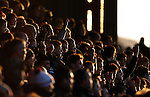 Grimsby Town 1 Lincoln City 3, 28/12/2014. Blundell Park, Football Conference. Lincoln fans backlit.  Photo by Paul Thompson.