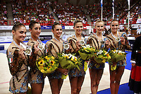September 23, 2007; Patras, Greece;   Rhythmic group from Italy celebrates winning silver in event finals at 2007 World Championships Patras.    Italian group qualified for  2008 Beijing Olympic Games.  Photo by Tom Theobald.