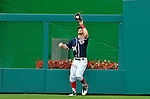 3 September 2012: Washington Nationals rookie outfielder Bryce Harper pulls in a fly ball during a game against the Chicago Cubs at Nationals Park in Washington, DC. The Nationals edged out the visiting Cubs 2-1, in the first game of heir 4-game series. Mandatory Credit: Ed Wolfstein Photo