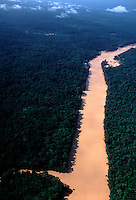 Aerial of Essequibo tributary that is so filled with mud from gold dredging that Amerindians catch fish during the day that they could only catch at night before... Drinking water and fishing have been significantly affected by this search for gold without any concern for environmental degradation.
