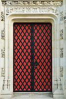 Belgium, Bruges, Ornate decorated dooorway, Burg Square