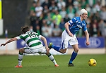 St Johnstone v Celtic&hellip;.McDiarmid Park, Perth.. 11.05.16<br />Joe Shaughnessy skips by Scott Allan<br />Picture by Graeme Hart.<br />Copyright Perthshire Picture Agency<br />Tel: 01738 623350  Mobile: 07990 594431