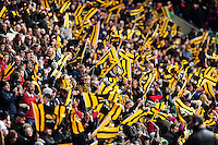 Wasps fans in the crowd celebrate a try. European Rugby Champions Cup quarter final, between Wasps and Exeter Chiefs on April 9, 2016 at the Ricoh Arena in Coventry, England. Photo by: Patrick Khachfe / JMP
