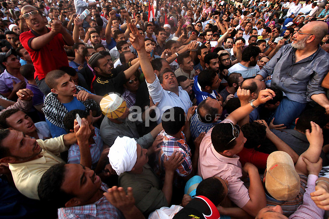 Egyptian Muslim cleric Safwat Hegazi demonstrates a day after a court sentenced deposed president Hosni Mubarak to life in prison, at Tahrir Square in Cairo June 3, 2012. Egyptian pro-democracy campaigners called for a new uprising on Sunday, enraged that a court had spared Mubarak his life over the killing of protesters during the street revolt that ended his three-decade rule. Photo by Ashraf Amra