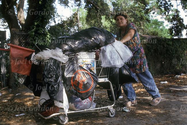 Bag Ladies pushing shopping carts