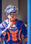 13 March 2014: New York Mets catcher Juan Centeno stands in the dugout during a Spring Training game against the Washington Nationals at Space Coast Stadium in Viera, Florida. The Mets defeated the Nationals 7-5 in Grapefruit League play. Mandatory Credit: Ed Wolfstein Photo *** RAW (NEF) Image File Available ***