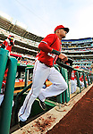 19 May 2012: Washington Nationals shortstop Ian Desmond takes to the field to start a game against the Baltimore Orioles at Nationals Park in Washington, DC. The Orioles defeated the Nationals 6-5 in the second game of their 3-game series. Mandatory Credit: Ed Wolfstein Photo