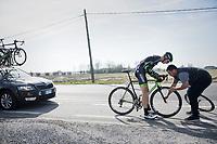 flat tire for Krists Neilands (LAT/Israel Cycling Academy)<br /> <br /> 79th Gent-Wevelgem 2017 (1.UWT)<br /> 1day race: Deinze &rsaquo; Wevelgem - BEL (249km)