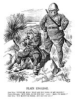 "Plain English. John Bull. ""Scuse me, m,soo! What are you doing on my ground?"" French explorer. ""Mon cher, je n'y suis pas."" (Aside.) ""Mais j'y reste!!"" John Bull. ""You mayn't be there. But out you go!!"""