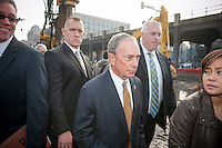 New York Mayor Michael Bloomberg, center,  at the groundbreaking ceremony for the long anticipated and controversial Hudson Yards project on the West Side of Manhattan in New York on Tuesday, December 4, 2012. The Hudson Yards, built over the LIRR yards, represents the largest real estate development in New York since Rockefeller Center. When finished the 26 acre site will have over 13 million square feet of commercial, residential and retail space. (© Richard B. Levine)