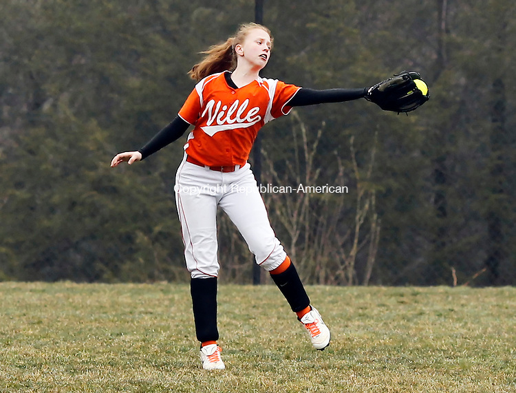 Terryville, CT- 20, April 2011-042011CM04 Terryville's Jenn Luba makes a one handed grab in right field against Northwestern Wednesday afternoon in Terryville.  Northwestern took home the win, 4-0.     Christopher Massa Republican-American