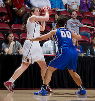 Stanford, CA., March 24, 2013-- Stanford's  Sara James looks for open player during Sunday, March 24, 2013, first round 2013 NCAA Division I Women Basketball game against Tulsa. Stanford won the game 72-56. ( Norbert von der Groeben / ISI Photo )